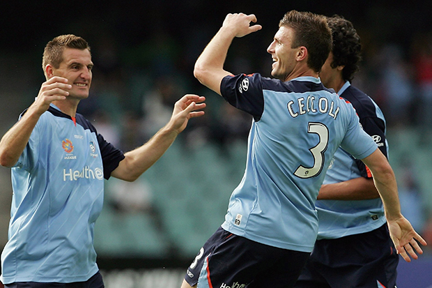 SYDNEY, AUSTRALIA - OCTOBER 08: Alvin Ceccoli of Sydney FC celebrates scoring during the round seven Hyundai A-League match between Sydney FC and the Queensland Roar at Aussie Stadium October 8, 2006 in Sydney, Australia. (Photo by Adam Pretty/Getty Images)